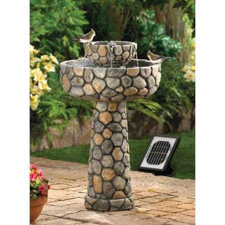 Cobblestone Look Bird Bath Design Solar Water Fountain with Electric Powered Backup for Flower Bed, Yard and Garden Decor by Home 'n Gifts