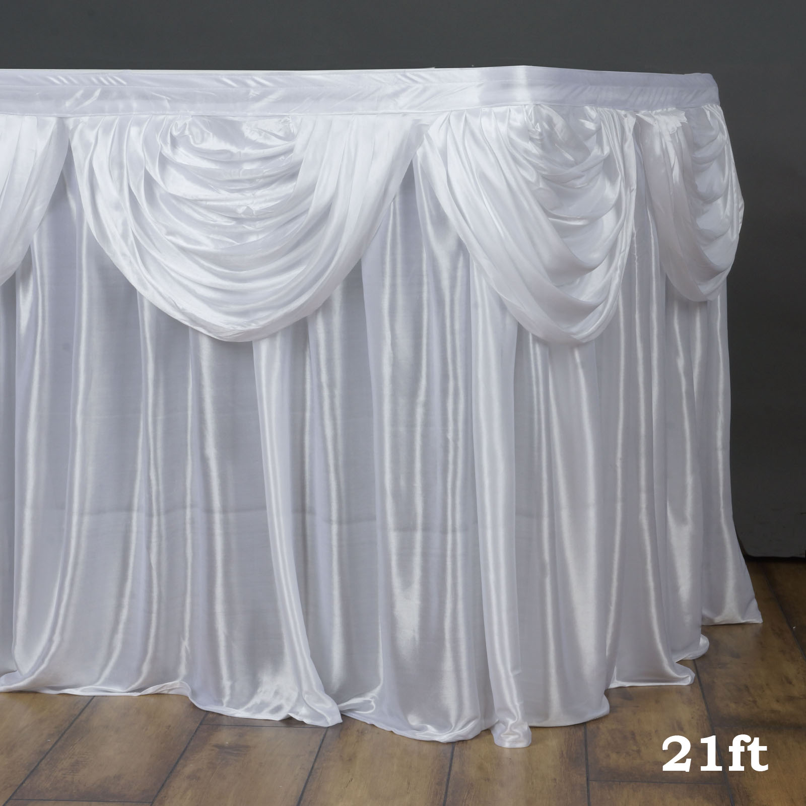 Efavormart Satin Double Drape Table Skirt Table Covers For Rectangle Or Round Tables 21Ft