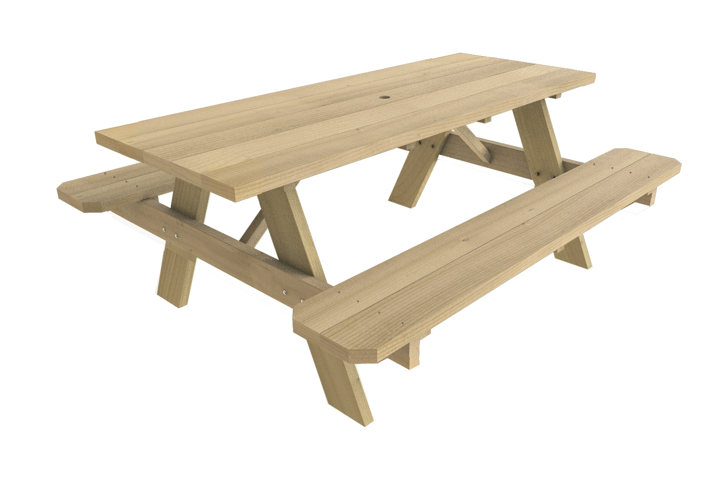 Picnic Table Kit, 2x6 Pt W/umbrella Hole   Walmart.com