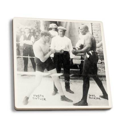 Boxer Vintage Photo (Boxers Marty Cutler and Jack Johnson - Vintage Photograph (Set of 4 Ceramic Coasters - Cork-backed,)