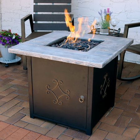 Sunnydaze 30 Inch Square Propane Gas Fire Pit Table With