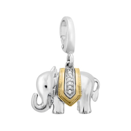 Duet Elephant Charm with Diamonds in Sterling Silver & 14kt Gold