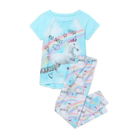 Girls Pajamas Size 7 (Girls' Short Sleeve Unicorn Rainbow 2 Piece Pajama Sleep Set (Little Girl & Big)