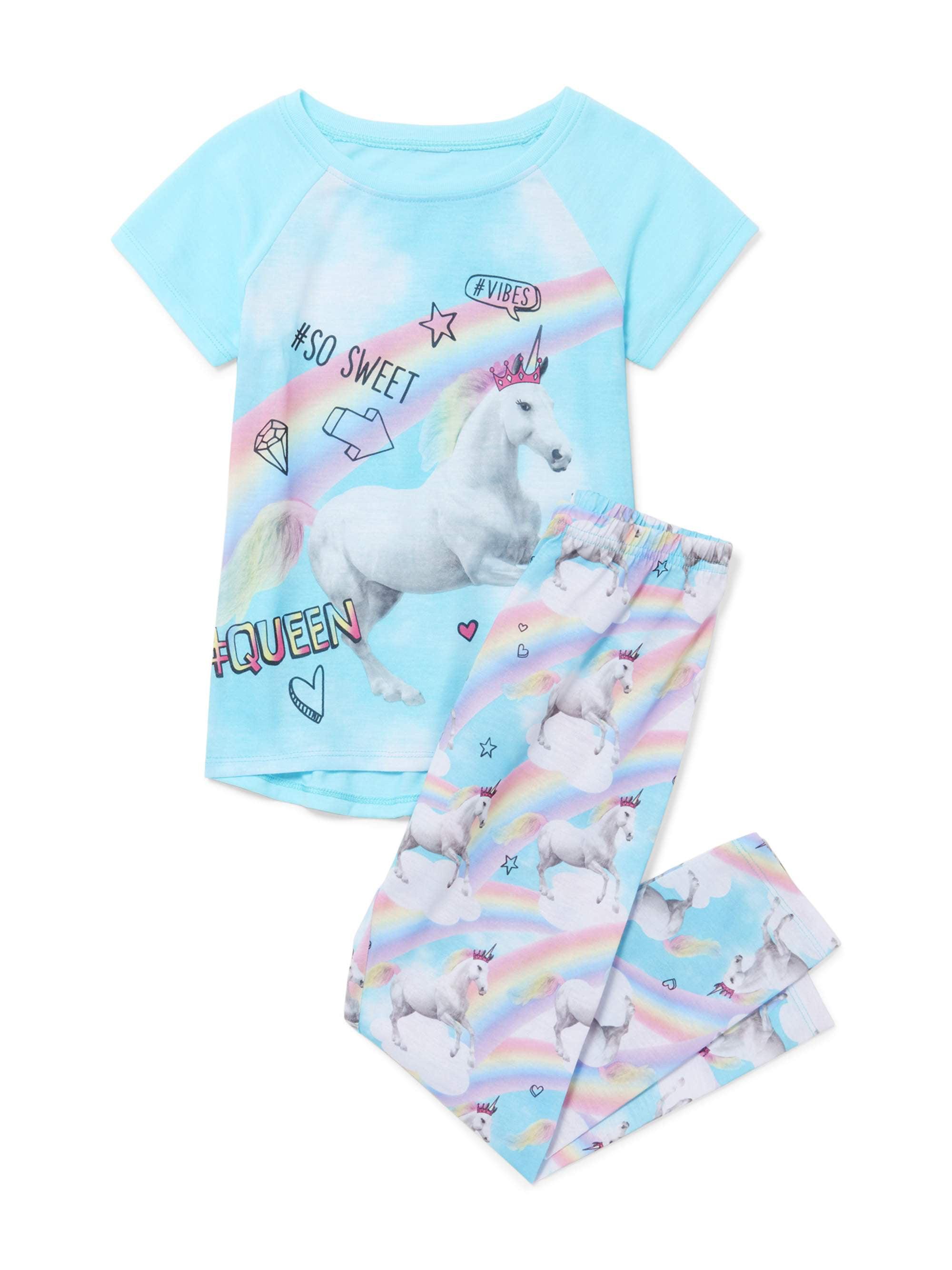 Girls' Short Sleeve Unicorn Rainbow 2 Piece Pajama Sleep Set (Little Girl & Big Girl)