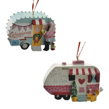 Adventurous Camper Resin Christmas Ornaments, Assorted, 2-Piece