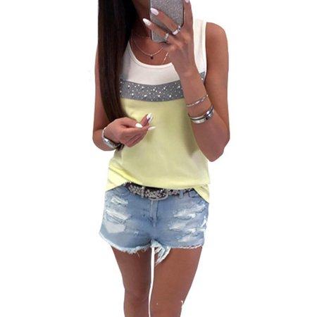 - Women Patchwork Beads Sleeveless Cami Comfy Tank Tops Causal Loose Vest T-Shirt