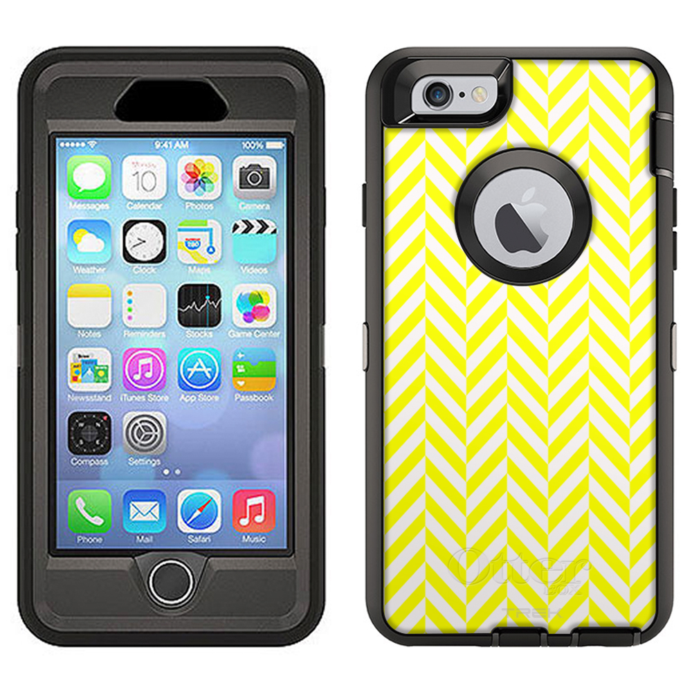 SKIN DECAL FOR Otterbox Defender Apple iPhone 6 Plus Case - Chevron Mini Yellow White DECAL, NOT A CASE