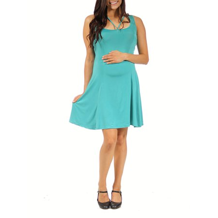 24/7 Comfort Apparel Women's Maternity Abstract Neckline Sheath Dress