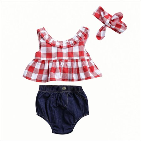 3pcs Cute Kids Baby Girls Clothes Plaid Vest Sleeveless T-shirts Tops+Denim Briefs+Headwear Fashion Summer Outfits