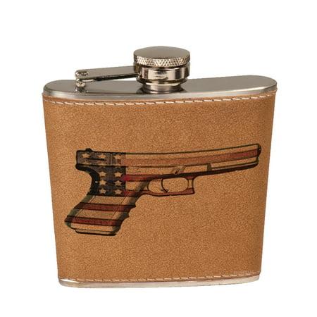 KuzmarK 6 oz. Leather Pocket Hip Liquor Flask - American Flag Gun Rights