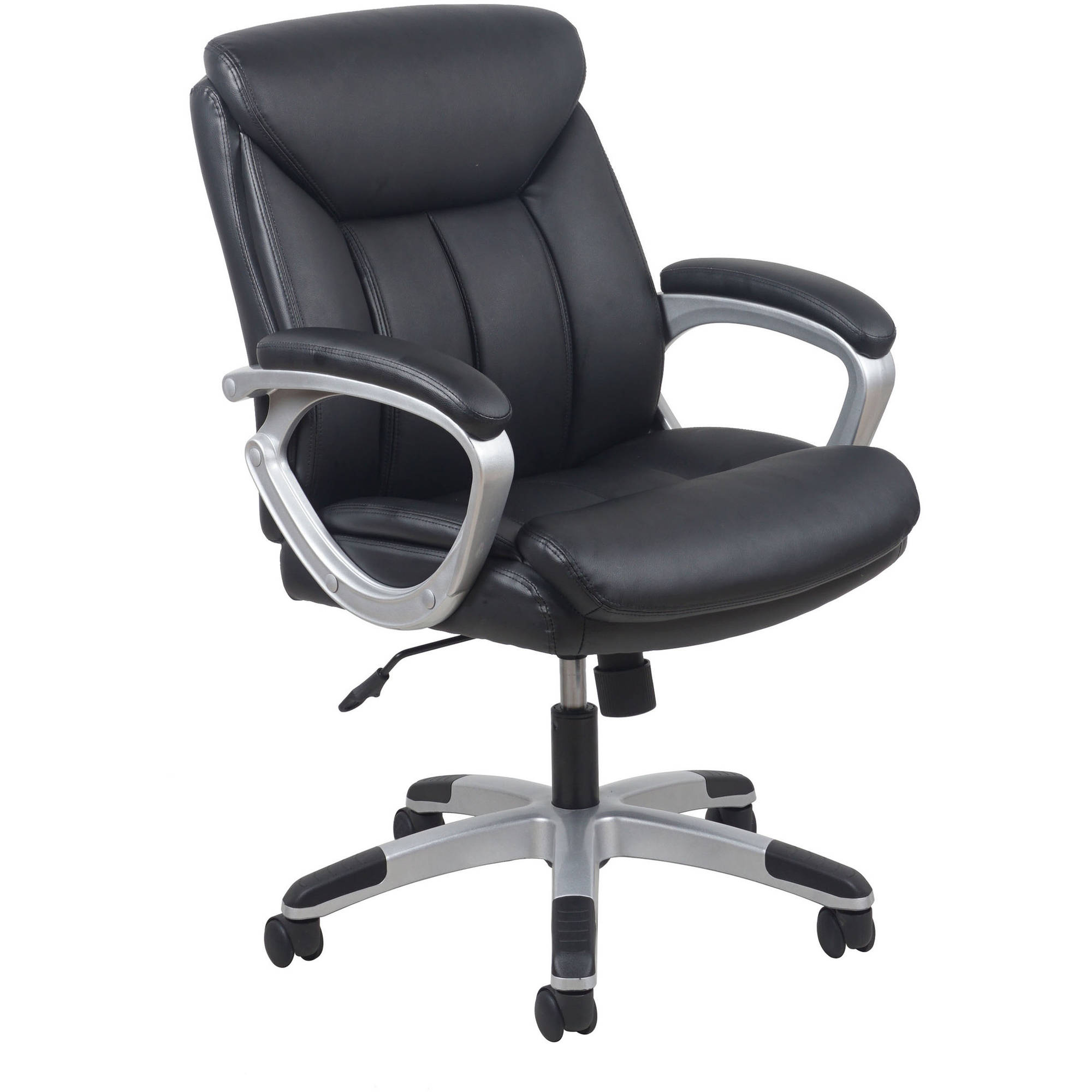 Essentials By OFM Leather Executive Office Chair With Arms, Black/Silver    Walmart.com