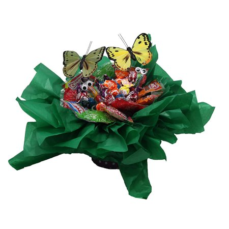 Spring Candy Bouquet. Great Gift for any Occasion. Creative Edible Lollipop Flower with Gobstopper Crawlies and Butterflies. (Flower Lollipops)