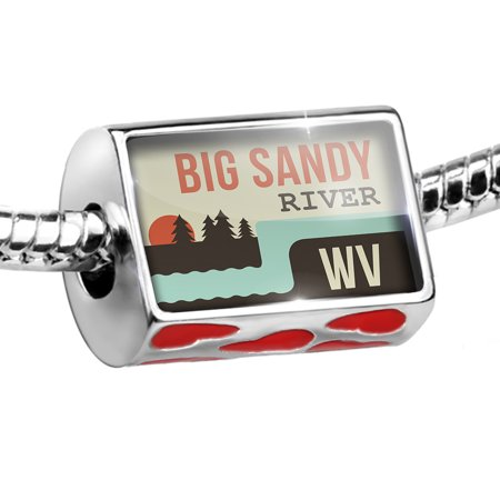 Bead USA Rivers Big Sandy River - West Virginia Charm Fits All European Bracelets ()