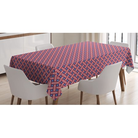 4Th Of July Tablecloth  Diagonal Stripes With Stars Union Of The States Day Of Independence  Rectangular Table Cover For Dining Room Kitchen  60 X 84 Inches  Violet Blue Red White  By Ambesonne