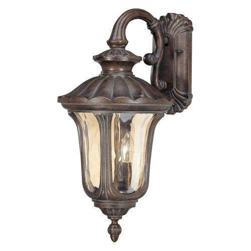 2 Light - Arm Down MidSize Wall Lamp - Amber Water Glass