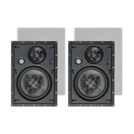 Monoprice 3-Way Carbon Fiber In Wall Speakers - 8 Inch (Pair) With Paintable Magnetic Grille For Home Theater - Alpha