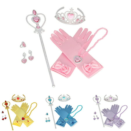 Kids Play Dress Up Clothes (Aniwon 6PCS Princess Dress up Accessories Set Cute Princess Jewelry Crown Gloves Set, Christams Party Cosplay Costumes New Year Birhtday Gifts for Kids)