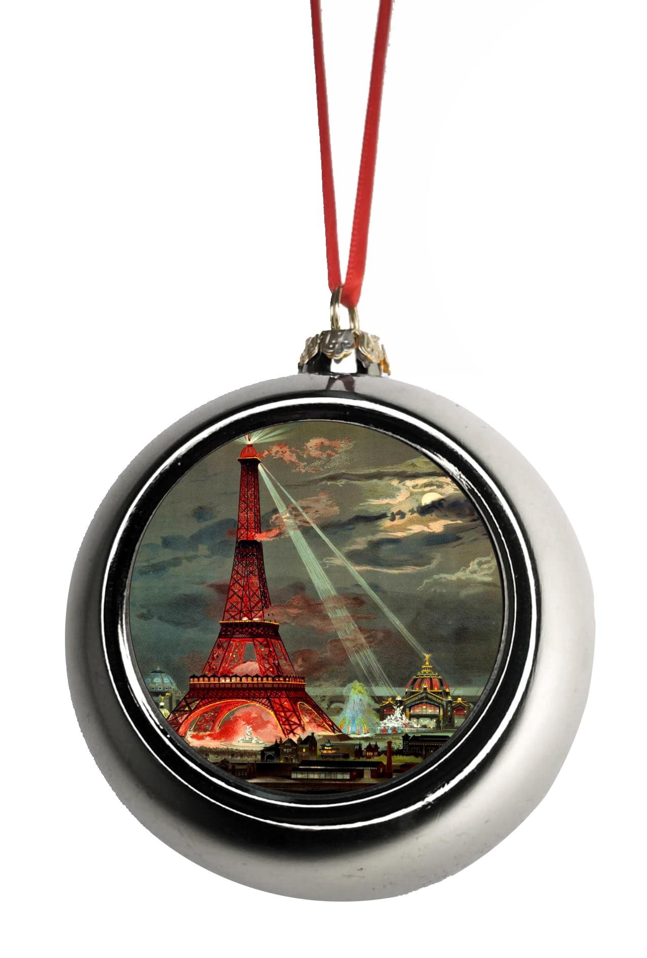 Paris Christmas Ornament.Ornaments Vintage Eiffel Tower Paris France Parisian Design Ornaments Silver Bauble Christmas Ornament Balls