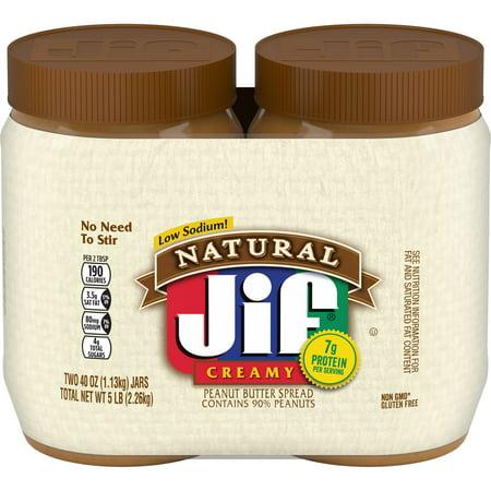 Jif Natural Creamy Peanut Butter Spread Twin Pack, - J2f 2 Duck