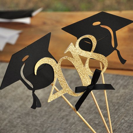 Graduation Party Decoration. Ships in 1-3 Business Days. Black and Gold Centerpiece for Graduation Party 3CT.