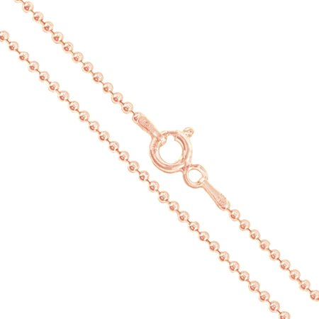 22k Rose Gold Plated Sterling Silver Italian Ball Bead Chain 1 5mm 925  Italy New Dog Tag Necklace 18