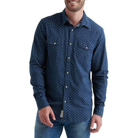 Printed Long-Sleeve Button-Down Shirt 2 Button T-shirt