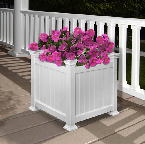 New England Arbors Square Vinyl Cardiff Patio Planter by New England Arbors