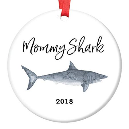 Mommy Shark Gift Ornament 2019 Christmas Tree Ceramic Holiday Present for Mom Mother Mama from Son Daughter Children Kids 3