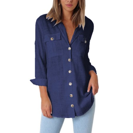 - Womens Linen Tops T-Shirts Button Down Blouses Long Sleeve Shirts Casual Loose Lapel V Neck Pocket Plain Clothing