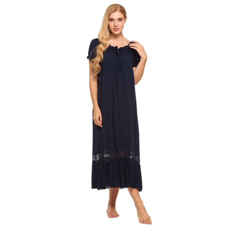 b545032658ff7 Ekouaer Women Comfy Ruffled Nightgown Lounge Sleepwear Long Maxi Dress Off  Shoulder Short Sleeve ANGHE