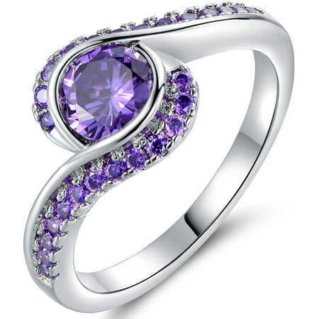Purple CZ 18kt White Gold Bypass Ring (Gold Cz Rings)