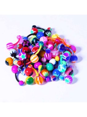BodyJ4You 50PC Belly Button Rings Banana Barbells 14G Bioflex Plastic Bar Mix Color Body Jewelry