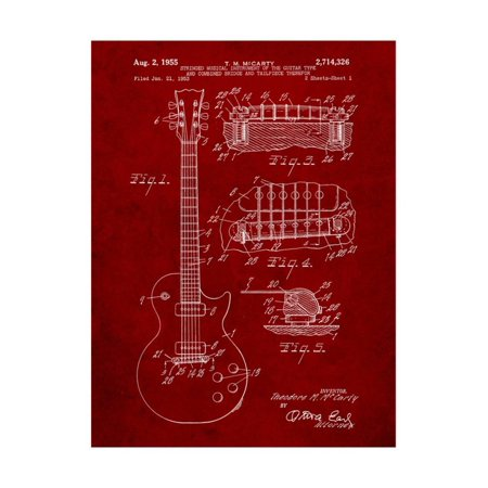 Gibson Les Paul Guitar Patent Print Wall Art By Cole Borders