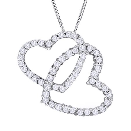White Natural Diamond Interlocking Hearts Pendant Necklace in 14K Solid White Gold (0.75 Ct)