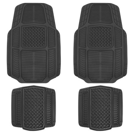 Motor Trend Black Rugged Earth Rubber Car Mats For Auto Truck Suv Van All Weather Deep