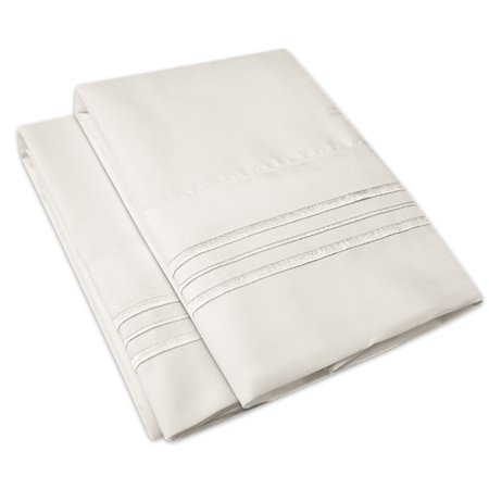 1500 Series Microfiber Embroidered Solid Color Bedroom Pillowcase - 2