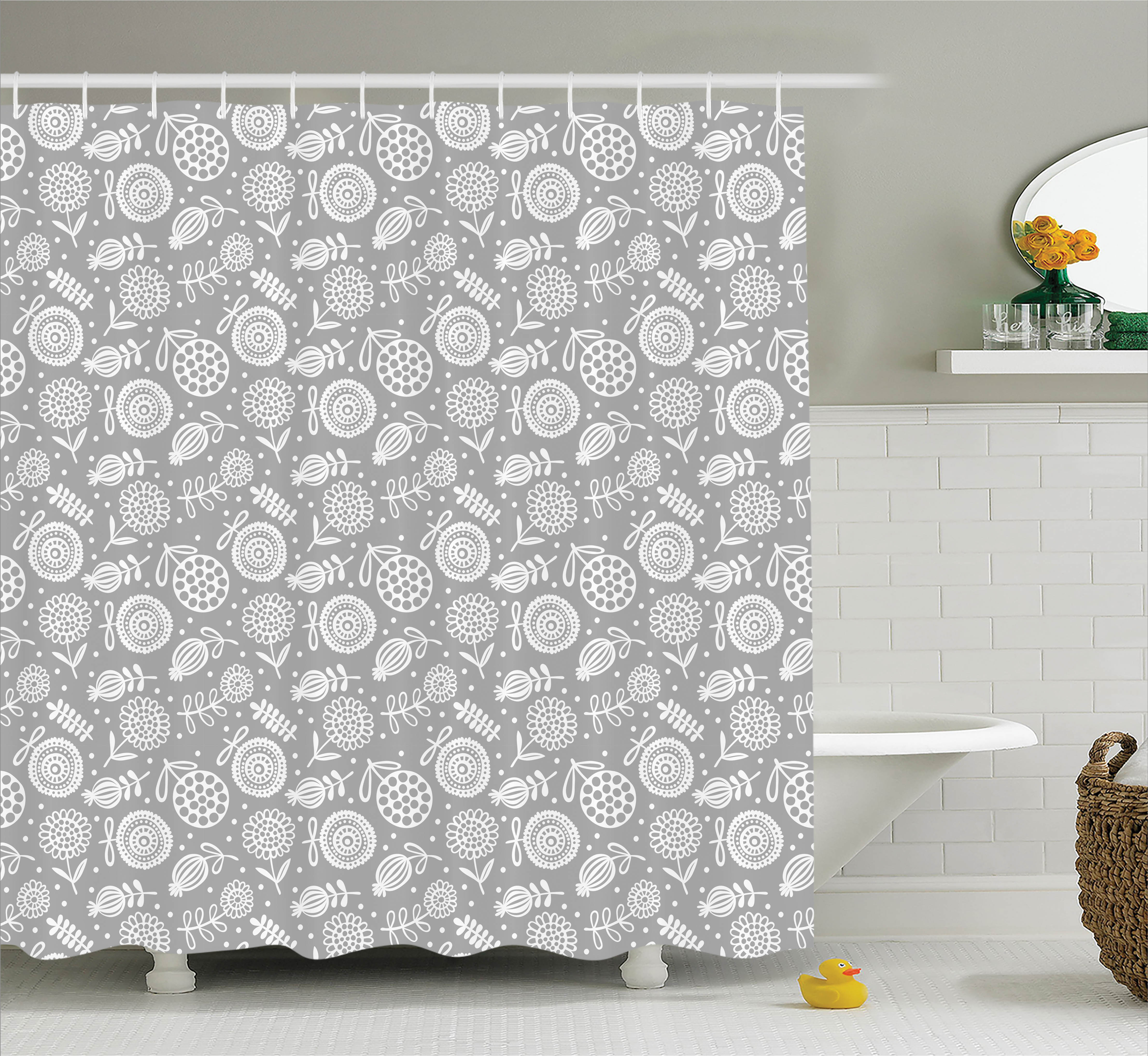 Home Decor Shower Curtain, Flower Pattern Cartoon Doodle Blooming Petal Ornament Springtime Abstract Art, Fabric Bathroom Set with Hooks, 69W X 75L Inches Long, Grey White, by Ambesonne