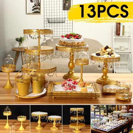 Moaere 13Pcs Metal Crystal Cake Holder Cupcake Stand Cake Dessert Bracket with Pendants and Beads Wedding Birthday - Dessert Display