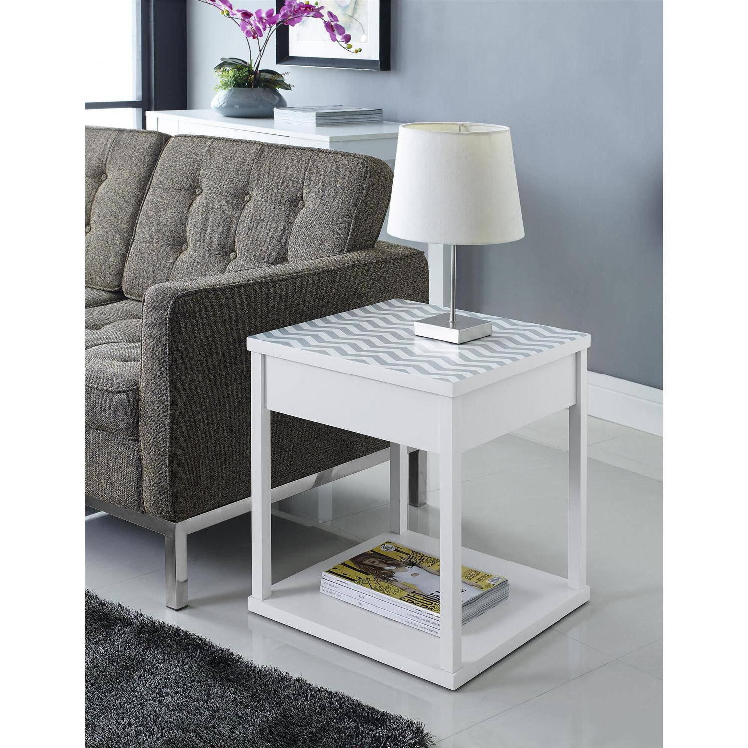 Altra Furniture Parsons Nightstand/End Table, White with Chevron Top