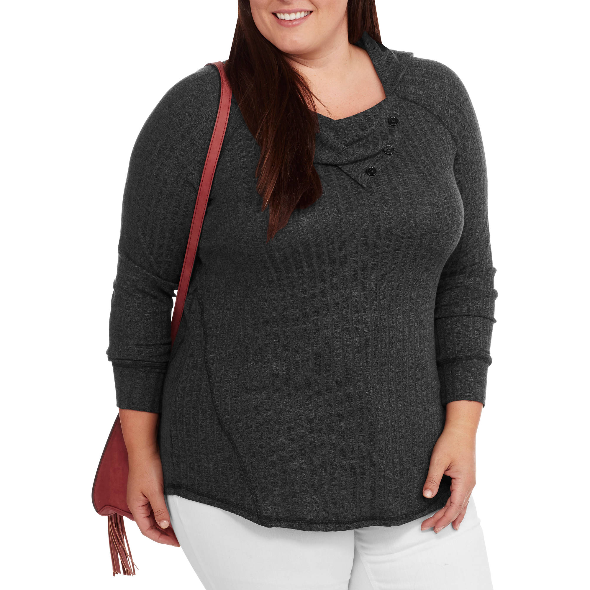 French Laundry Women's Plus Split Funnel Neck Ribbed Top