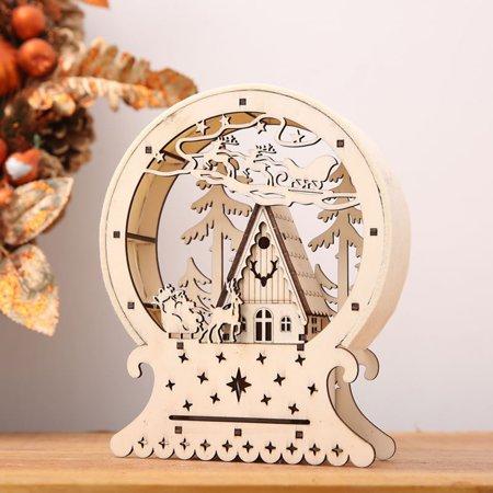 Outtop Christmas Decor Ornament LED Lights Deer Cart Luminous Wooden House Mall Window Hot sale ()