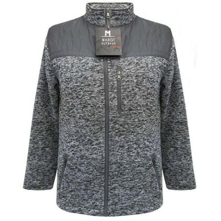 Marqt Mens Sherpa Lined Sweater Fleece Jacket Charcoal (Leather Sweater Jacket Men)