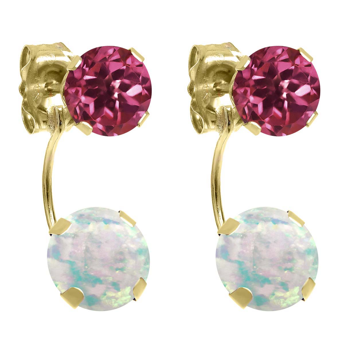 2.30 Ct Round White Simulated Opal Pink Tourmaline 14K Yellow Gold Earrings by