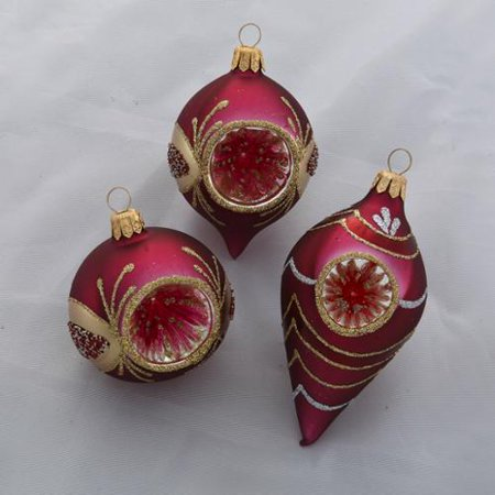 96 Burgundy and Gold Glass Retro-Style Reflector Christmas ...