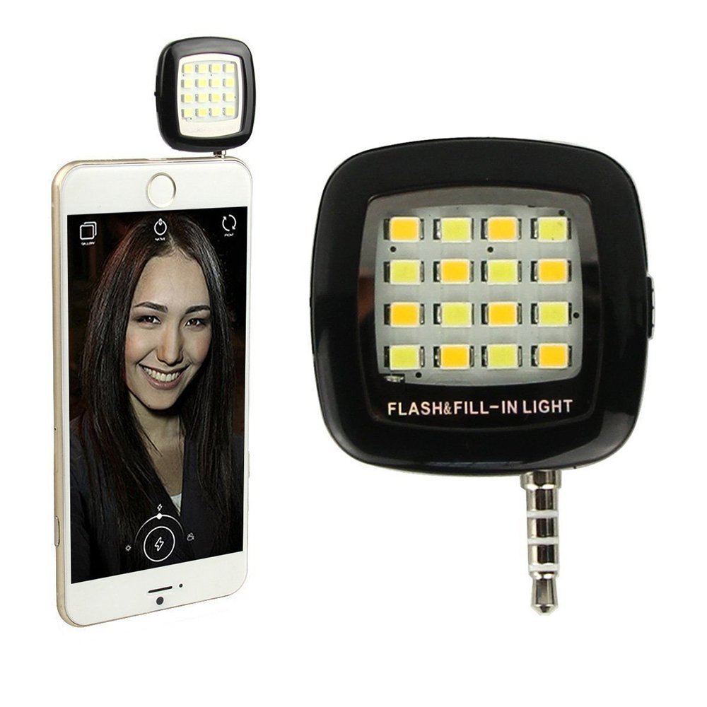 Universal Selfie Dimmable Flash Cell Phone Camera Fill-in 16 LED Light for iPhone,