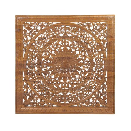 Bungalow Rose Rustic Traditional Carved Flower and Flourishes Square ...