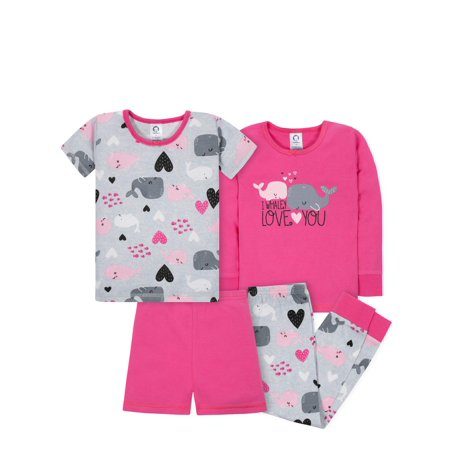 Gerber Mix n match tight-fit cotton pajamas, 4pc set (baby girls & toddler girls)](Girls Button Up Pajamas)