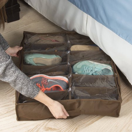 Under Bed Storage Shoe Organizer Bag with Clear Plastic Zippered Cover, Stores 12 Pairs of Shoes by Everyday Home