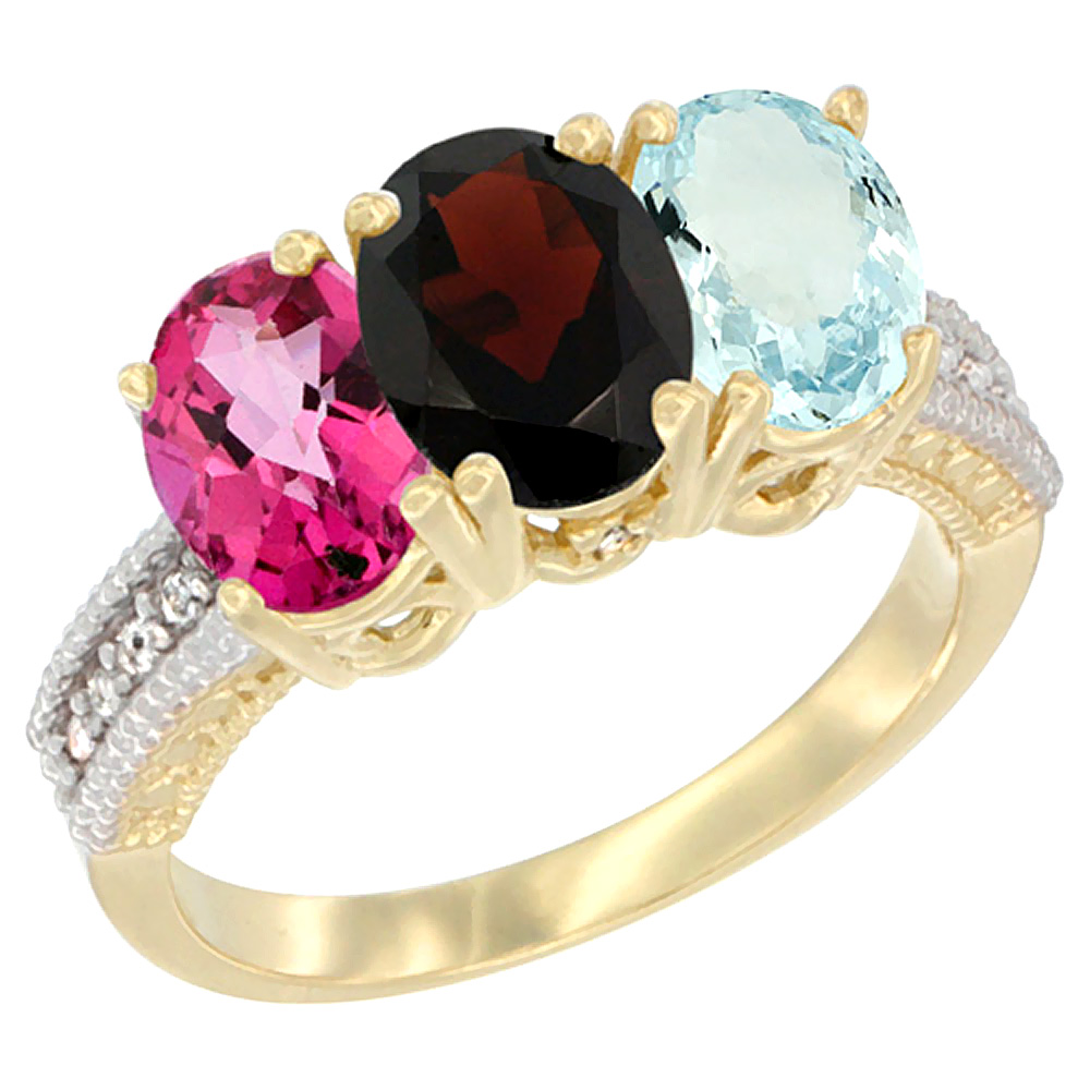 14K Yellow Gold Natural Pink Topaz, Garnet & Aquamarine Ring 3-Stone 7x5 mm Oval Diamond Accent, sizes 5 10 by WorldJewels