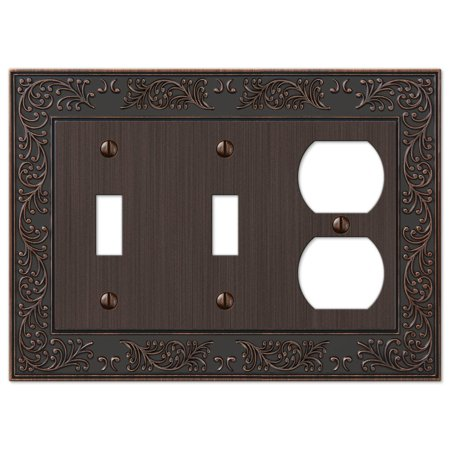 French Garden Double Toggle Switch and Single Duplex Outlet Wall Plate Cover Combo, Oil Rubbed